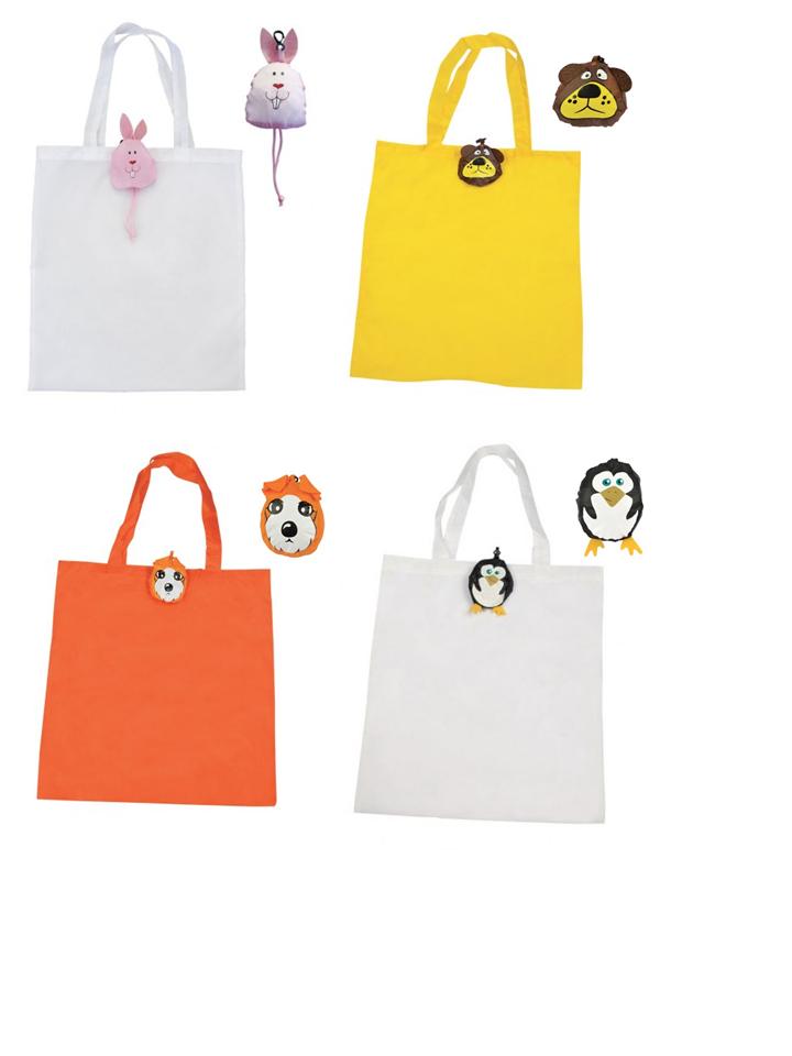 shopper animali coniglio orso cane pinguino poliestere shoppers gadget articolo promozionale regalo pubblicità pubblicitario