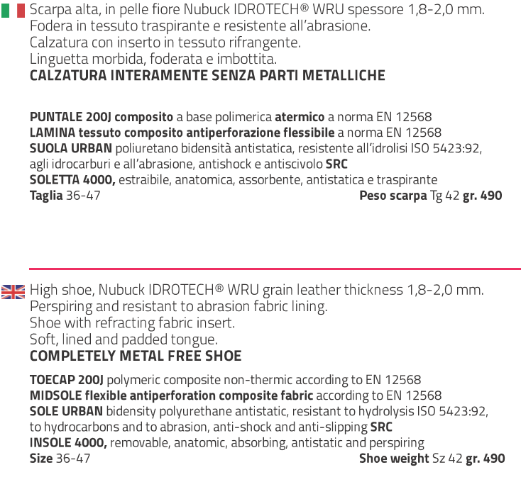 giasco made in italy  scarpe antinfortunistiche safety foot wear perfect grip urban src BASKET S3  93N37C  Scheda Tecnica
